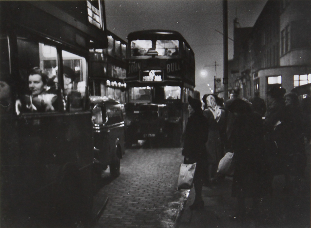 Buses travelling along London Road in Elephant and Castle, 1948. Photo: Bert Hardy.