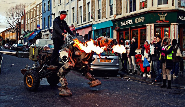 A man riding a dragon in Notting Hill. As you do. Photo: Bill (2009)