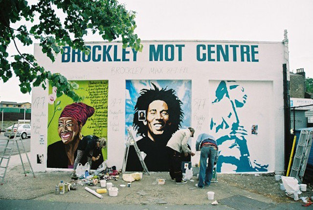 The Bob Marley mural painted as part of Brockley Max's Black Icons celebration.