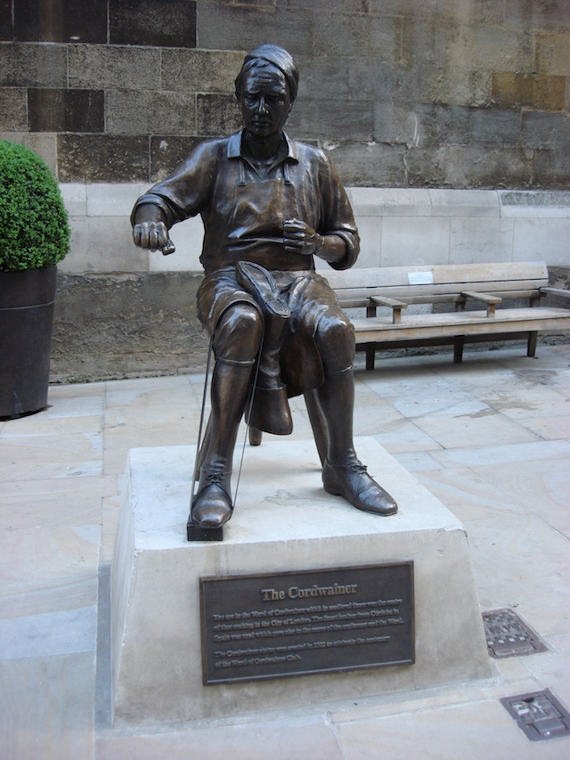 A cordwainer was a type of shoemaker. This likeness is by Alma Boyes, and stands on Watling Street in Cordwainer Ward.