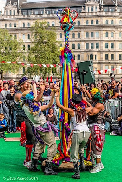 Morris dancers at the Feast of St George in Trafalgar Square. Photo: Dave Pearce (2014)