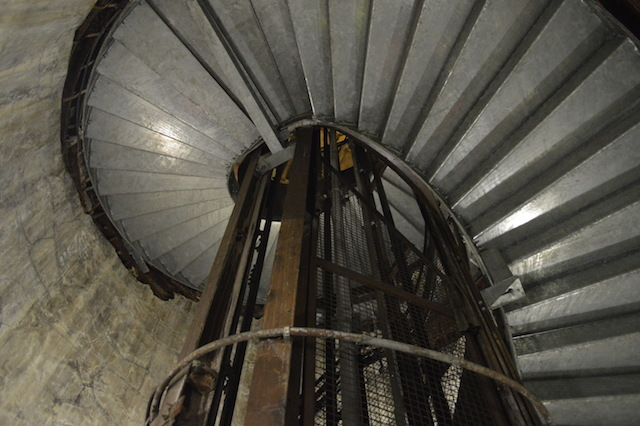 The lift in the centre was installed at the start of the Second World War, and was not present during passenger service.