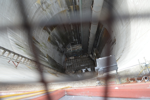 Looking down 75 metres into the overflow shaft. By comparison, Hampstead, the deepest tube station is 58.5 metres underground.