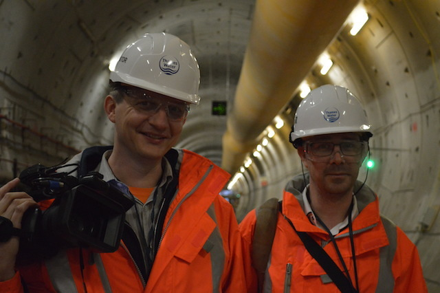 Londonist video editor Geoff Marshall (left) and Editor-at-Large Matt Brown (right) in full PPE.