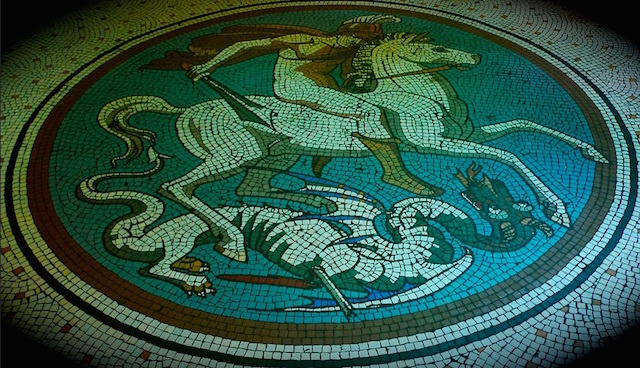 George and dragon mosaic in The Peasant pub in Clerkenwell. Photo: Nick Peligno (2009)
