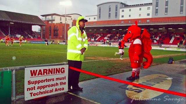 Dragon mascot at Leyton Orient's Matchroom Stadium. Photo: grot spotter (2012)