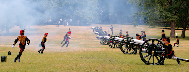 A 41-gun salute in Green Park to celebrate the birth of Prince George in 2013. Photo by Ian Wylie