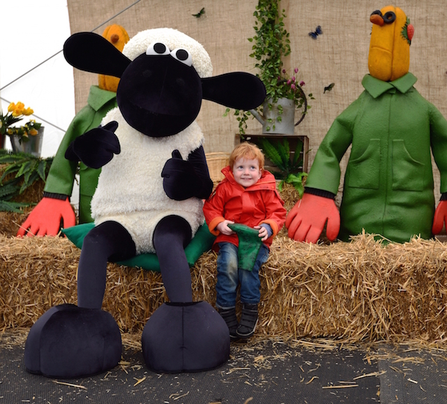 A happy visitor with Shaun the Sheep