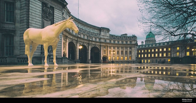 The White Horse by Mark Wallinger with Admiralty Arch in the background. Photo: John Esslinger (2015)