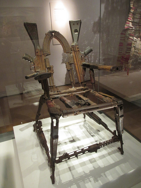 A chair made from guns at the British Museum. Photo by Matt Brown