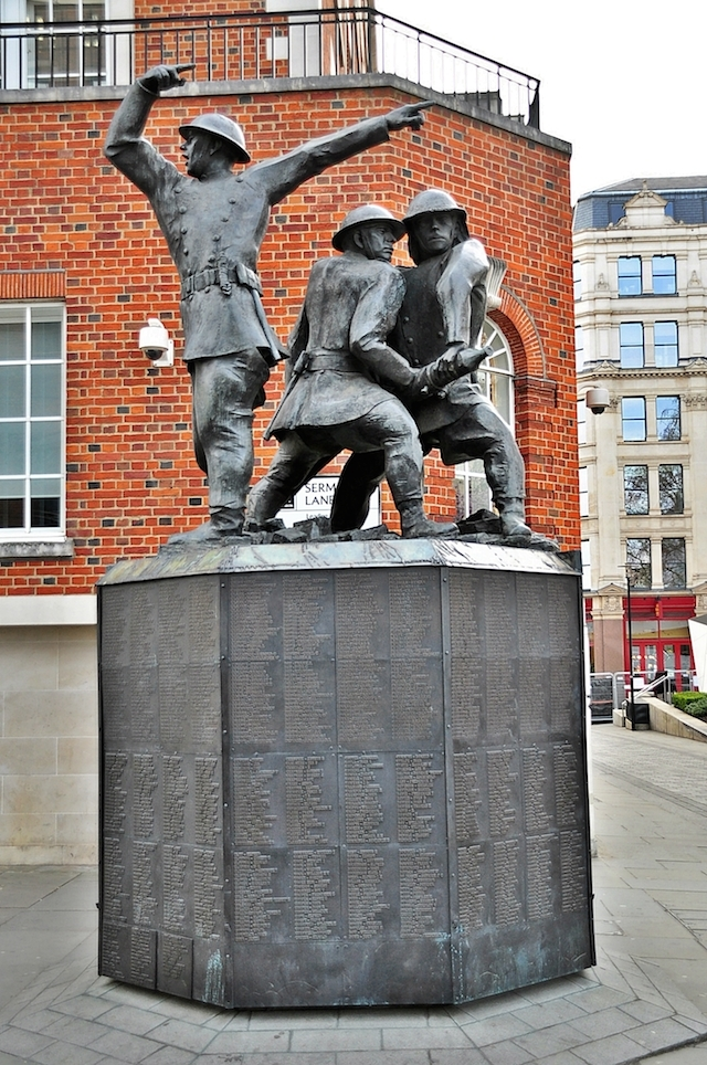 The National Firefighters Memorial shows those workers in their finest hour, tackling the fires of the Blitz. It's by John W Mills and stands south of St Paul's, whose fabric they fought so valiantly, and successfully, to save.