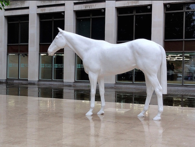 Mark Wallinger's White Horse, outside the British Council building on The Mall. Photo: Odddutch (2014)