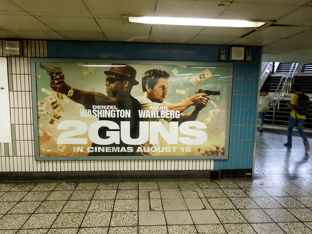 2 Guns film poster at Vauxhall station. Photo by PastLondon