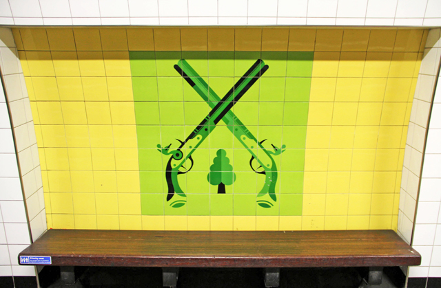 Tiles at Finsbury Park underground station. Photo by Sam Hart