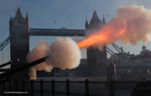 A 62-gun salute to mark the birthday of the Prince of Wales in 2012. Photo by What's in Wapping.