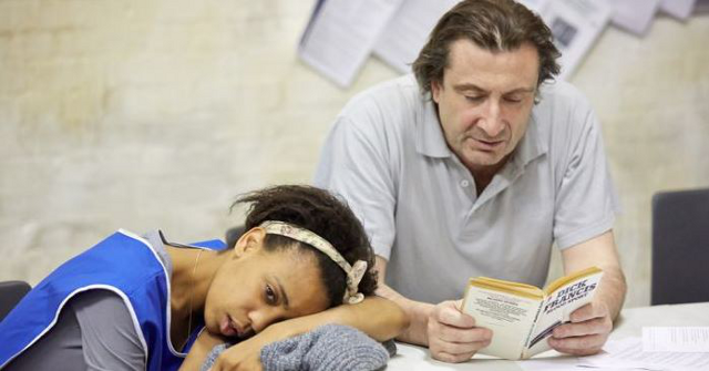 A brief moment of kindness in Beyond Caring. Phil (Sean O'Callaghan) comforts Grace (Janet Etuk). (Photo: Mark Douet)