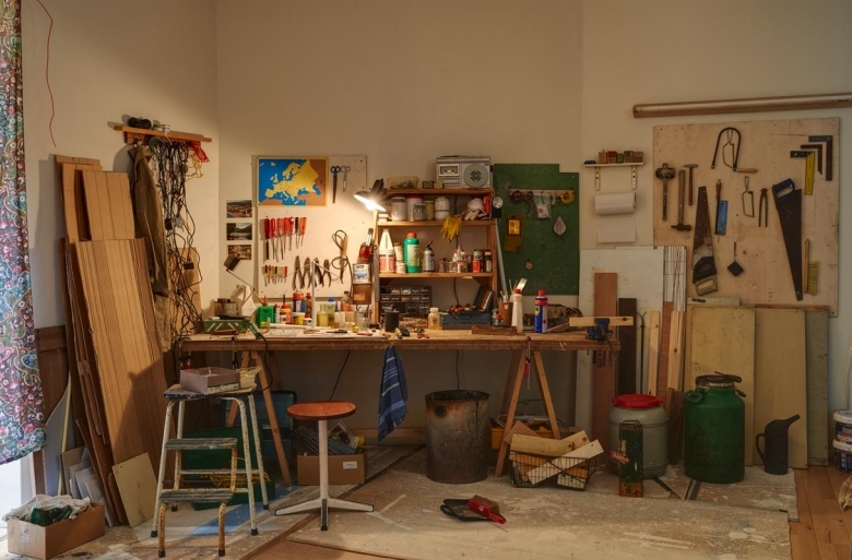 A workbench downstairs adds to the mystery of the place. © Copyright 2015 Frith Street Gallery