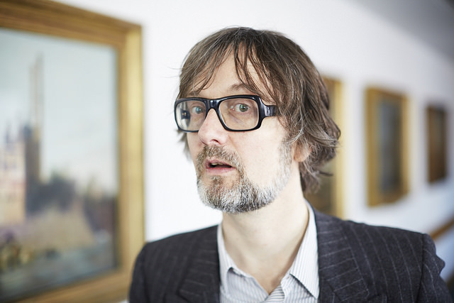 Jarvis Cocker, who stitched 'common people' on Cornelia Parker's Magna Carta (An Embroidery). Photo by Joseph Turp