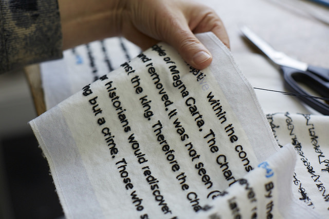 A fragment being stitched. Photo by Joseph Turp.