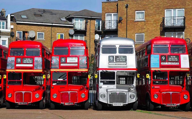 A line up of Routemasters that were used on route 9H until it was withdrawn. At Westbourne Park Bus Garage. Photo: Andrew Smith (2014)