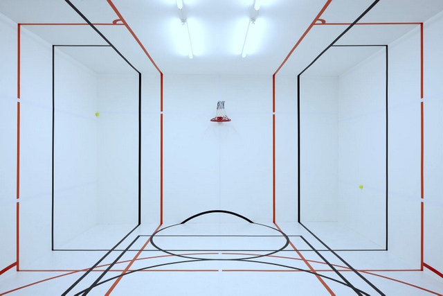 Paul Schneider's playful installation breaks the rules of sports. Photo: Tom Carter