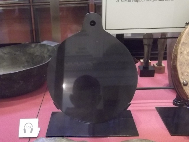 Dr John Dee will be familiar to fans of Peter Ackroyd or Damon Albarn, who respectively created a novel and an opera based on the Tudor London mystic. Here's a crappy pic of his obsidian mirror, used for conjuring demons, like the one clearly materialising in the photo. See it: Enlightenment Galleries.