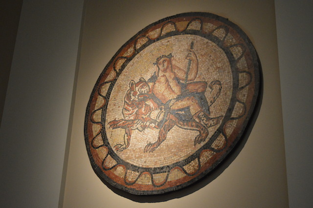 The Romans famously liked to decorate their homes and buildings with intricate mosaics. This one was found on the site of the East India Company building on Leadenhall Street. The 1st/2nd century mosaic depicts Roman booze god Bacchus lounging nonchalantly on a bemused tiger. We've all had nights like that. See it: Room 49, Roman London.