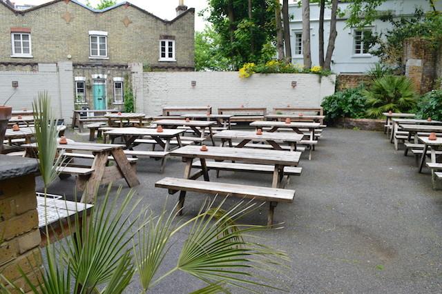 Sprawling beer garden.
