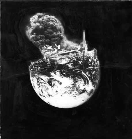 An oil explosion show how we're plundering the Earth for its resources. Copyright Peter Kennard