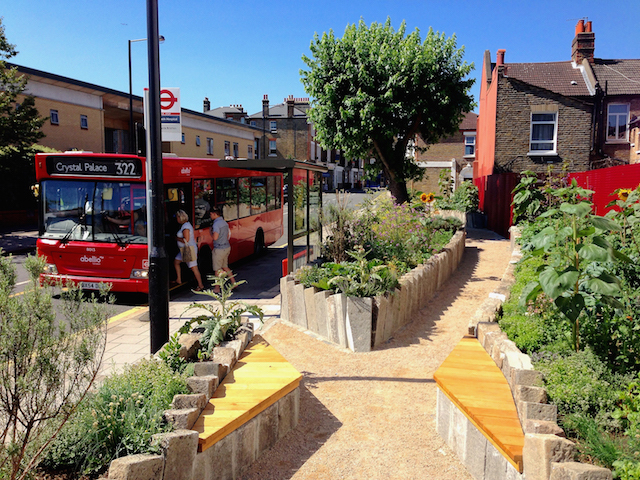 Edible Bus Stop Kerb Garden, Lambeth