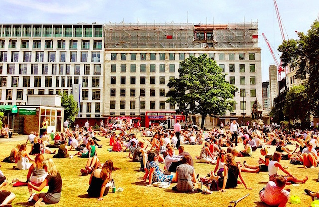 Finsbury Square on a sunny lunchtime. Photo: Rob Emes (2013)