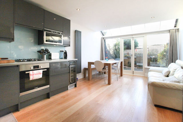 Kitchen/living area in the river house in Hammersmith.
