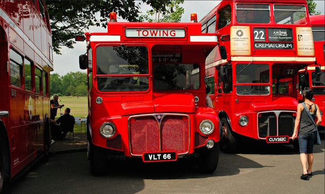A converted Routemaster at the Routemaster 60 celebrations in Finsbury Park. Photo: HoosierSands (2014)