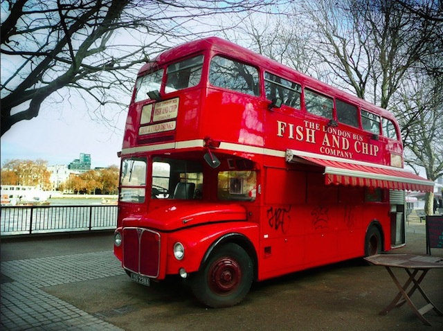 Fish and chip bus on South Bank. Photo: Kathy Archbold (2011)
