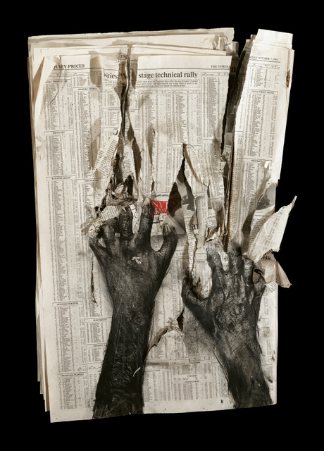 Charcoal hands claw at the pages of indecipherable statistics that represent the businesses that keep the poor downtrodden.