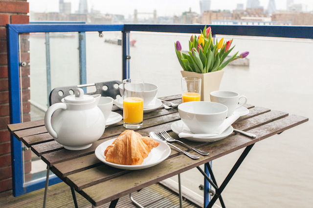 Breakfast on the deck in Rotherhithe.