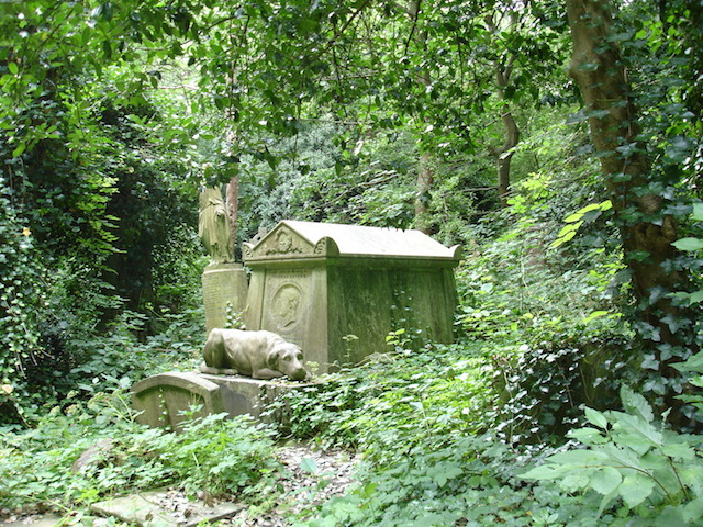 The tomb of boxer Tom Sayers in Highgate west cemetery includes the sleepy likeness of his faithful dog called Lion.