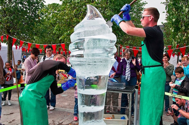 Ice sculpture  at the 1st annual Ice Cream Festival in London. Photo: Simon Kimber (2012)