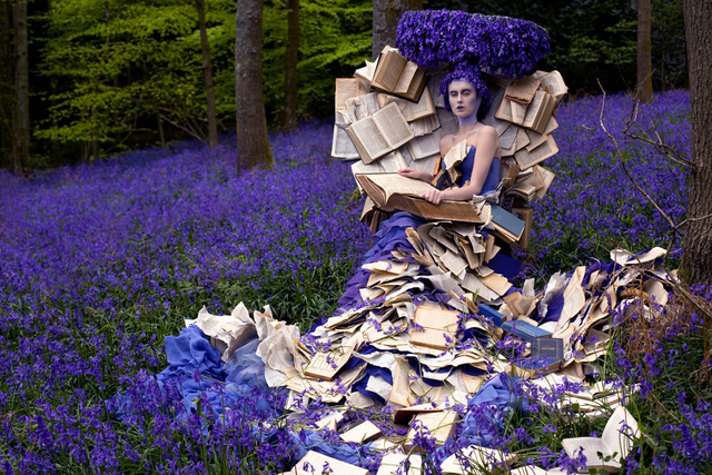 A self-referential image where a fairytale image is embellished with books. Copyright Kirsty Mitchell