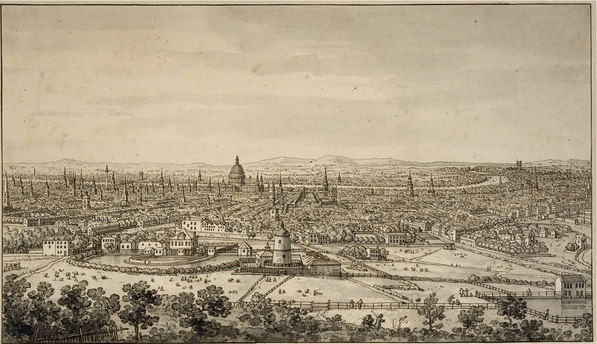 The British Museum also holds a vast collection of prints and drawings, many with London connections. Here's a scribble from Canaletto showing a rare view from north London, looking south. See it: Prints and Drawings