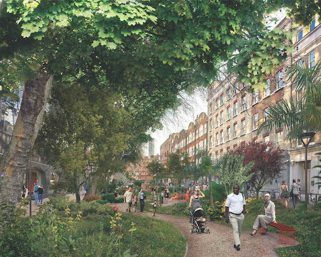 West End Square, Camden, (completion due 2018). Congested one-way streets will transform into two-way, tree-lined streets, with protected cycle lanes and new public spaces.