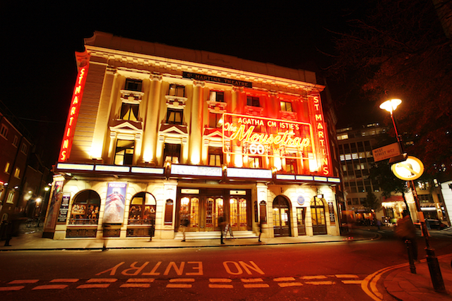 London , UK - December 11, 2012: Outside view of St Martin's Theatre, West End theatre, located on West Street, Camden of London, since 1916, designed by W. G. R. Sprague, at Night.
