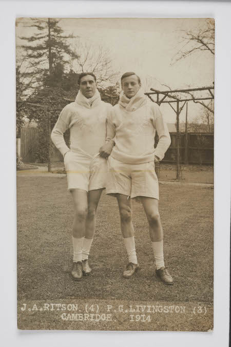 John Andrew Ritson and Philip Clermont Livingston, a Cambridge Team Oarsman, 1914. Ritson was killed during the war in 1916. Livingston, a relative of Mrs Broom, became Air Marshall Sir Philip Livingston KBE AFC © Museum of London