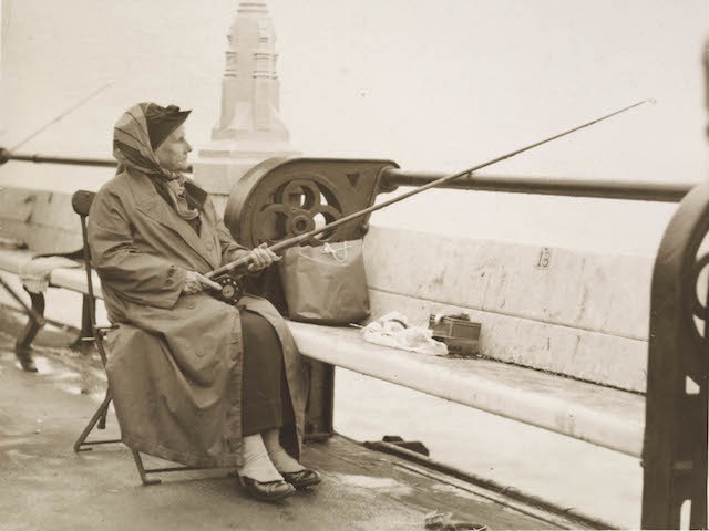 Last photograph of Christina Broom, fishing in Margate, just before she died, 1939 © Museum of London
