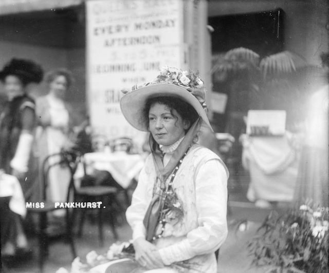 Christabel Pankhurst, co-founder of the Women's Social and Political Union, inside the Women's Exhibition, May 1909 © Museum of London
