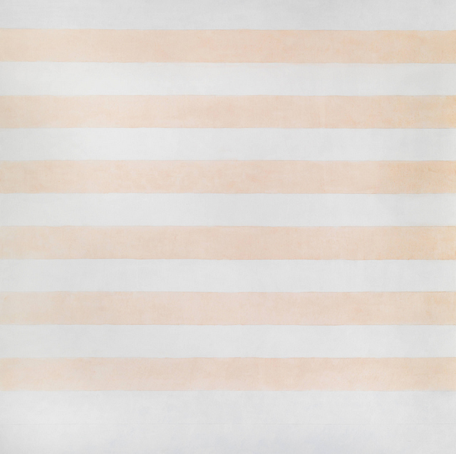 There are many of these pastel coloured striped works in the exhibition. © estate of Agnes Martin