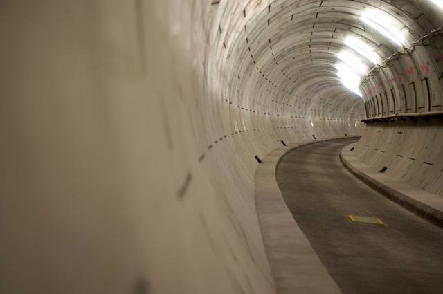A bend in the tunnel as it snakes under the Thames