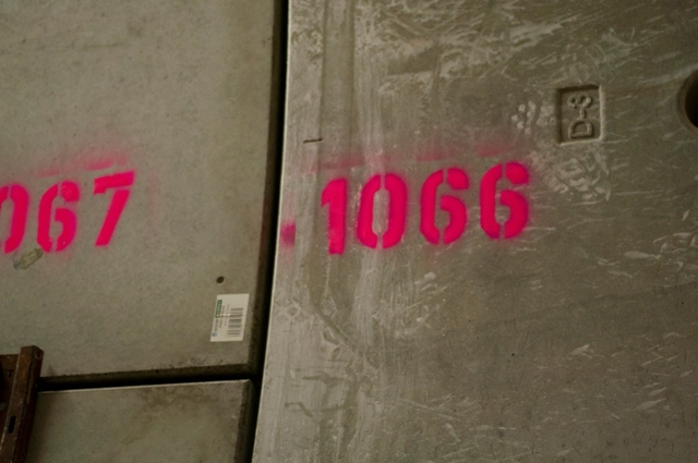 Each ringed section of concrete is numbered