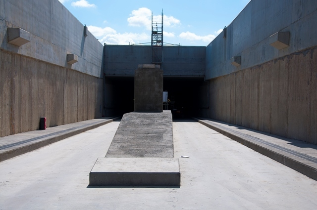 The entrance to the tunnels in North Woolwich. The tunnel in the left of the picture will take trains away from London, and the one on the right will take trains towards London