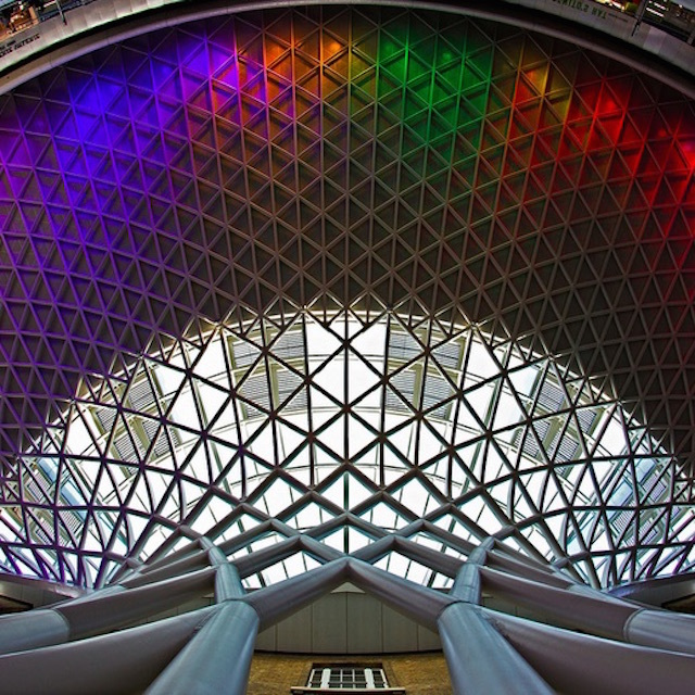 Coloured lighting on the King's Cross station roof. Photo: Dan Borg (2012)